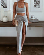 Load image into Gallery viewer, PLAIN SLEEVELESS CROP TOP & HIGH SLIT TWISTED SKIRT SET