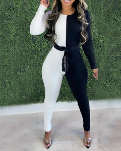 BLACK & WHITE LONG SLEEVES FITTED JUMPSUIT