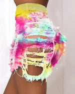 Load image into Gallery viewer, TIE DYE PRINT DISTRESSED CUTOUT FRINGE HEM DENIM SHORTS