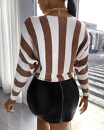 Load image into Gallery viewer, STRIPED LONG SLEEVES KNIT SWEATER