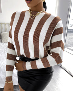 STRIPED LONG SLEEVES KNIT SWEATER