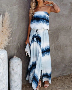 Tie DYE SLEEVELESS TASSEL LACE UP MAXI DRESS