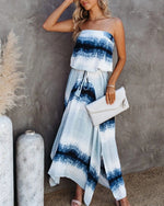 Load image into Gallery viewer, Tie DYE SLEEVELESS TASSEL LACE UP MAXI DRESS