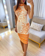 Load image into Gallery viewer, HALTER FLORAL GRAPHIC BACKLESS DRESS