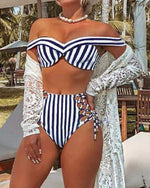 Load image into Gallery viewer, STRIPED OFF SHOULDERS SLEEVELESS BIKINI SET