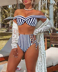 STRIPED OFF SHOULDERS SLEEVELESS BIKINI SET