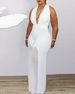 SEXY THICK SLEEVELESS SHEER MESH PLUNGE JUMPSUIT