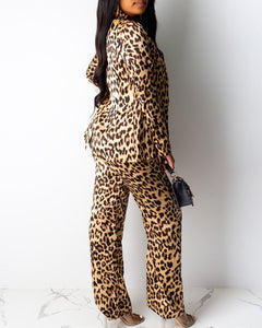 CHEETAH PRINT TIE FRONT CROP TOP & LONG SLEEVE COAT & WIDE LEG PANTS SET