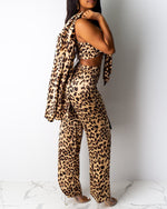 Load image into Gallery viewer, CHEETAH PRINT TIE FRONT CROP TOP & LONG SLEEVE COAT & WIDE LEG PANTS SET