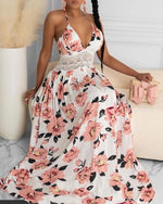 Load image into Gallery viewer, HALTER FLORAL PRINT CRISSCROSS BACKLESS MAXI DRESS