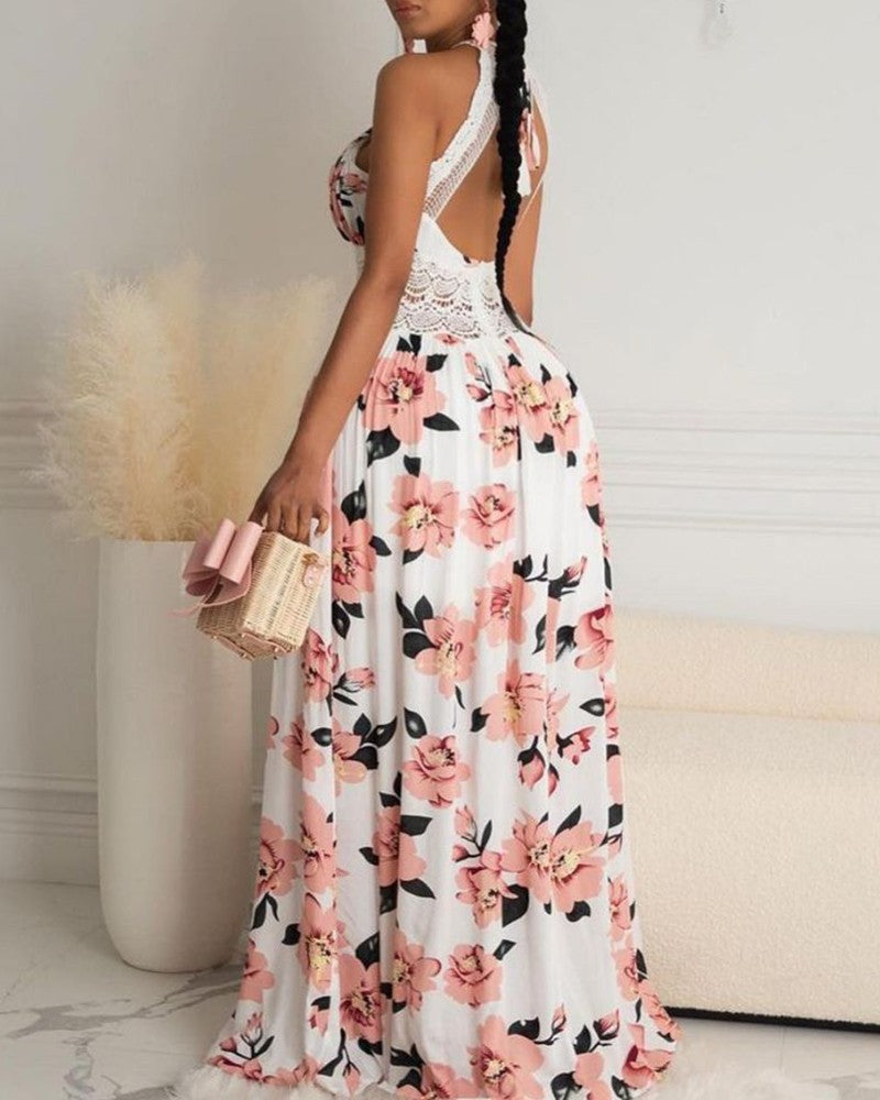 HALTER FLORAL PRINT CRISSCROSS BACKLESS MAXI DRESS