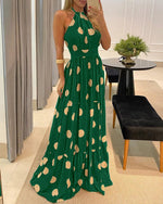 Load image into Gallery viewer, POLKA DOT PRINT HALTER BACKLESS RUCHED MAXI DRESS