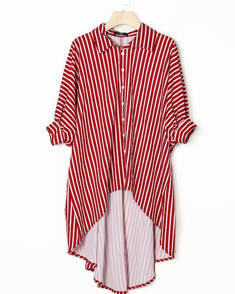 STRIPED BATWING SLEEVES DIP HEM TOP