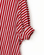 Load image into Gallery viewer, STRIPED BATWING SLEEVES DIP HEM TOP