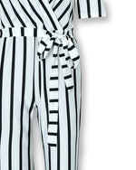 Load image into Gallery viewer, DEEP V-CHEST STRIPED WIDE LEG JUMPSUIT
