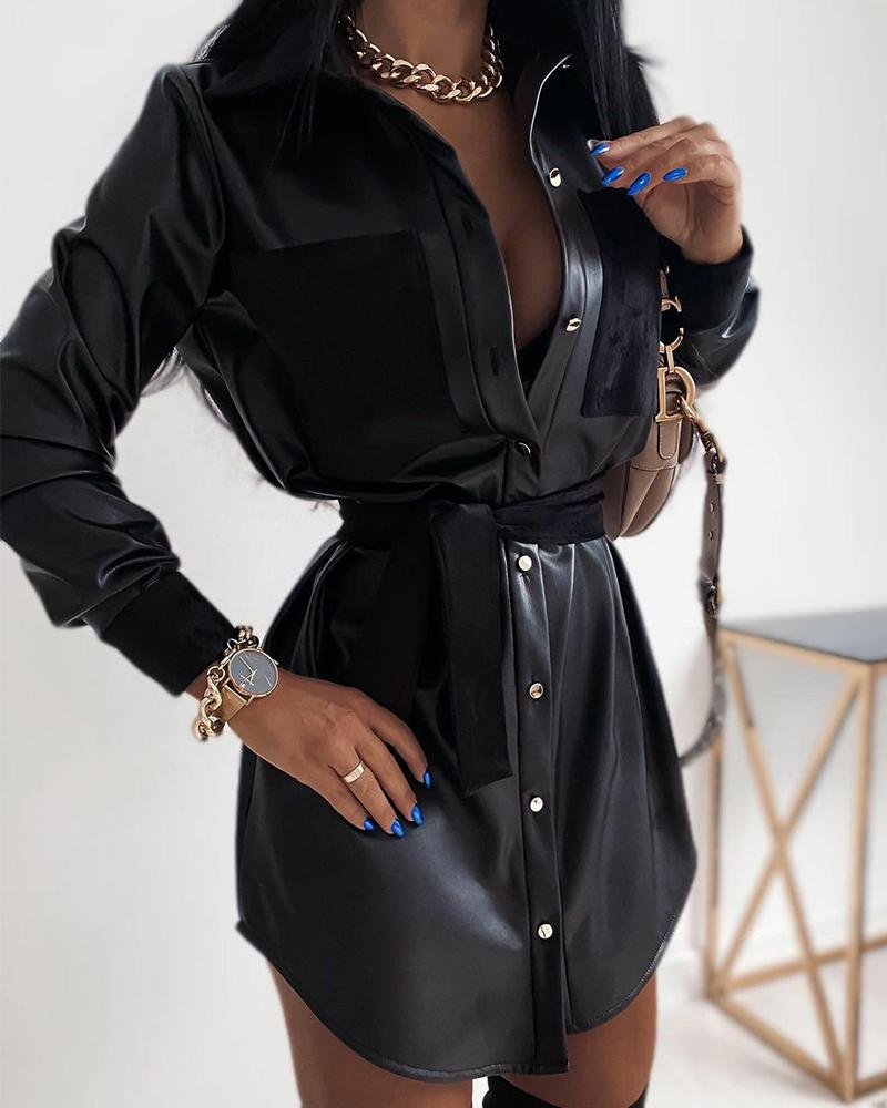 SOLID LONG SLEEVES BUTTON-DOWN SHIRT LEATHER DRESS