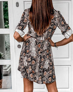 Load image into Gallery viewer, PAISLEY / CHEETAH / SNAKESKIN PRINT BUTTONED SHIRT DRESS