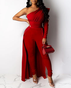 ONE SHOULDER DIP HEM JUMPSUIT