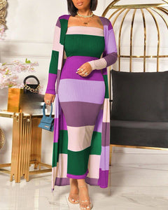 RIBBED MAXI DRESS & LONGLINE COAT SET