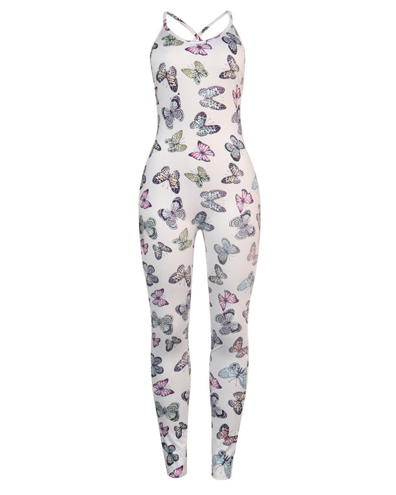 BUTTERFLY PRINT BACKLESS JUMPSUIT