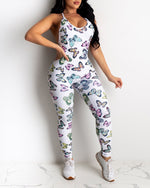 Load image into Gallery viewer, BUTTERFLY PRINT BACKLESS JUMPSUIT
