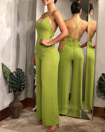 Load image into Gallery viewer, PLAIN HALTER BACKLESS WIDE LEG JUMPSUIT