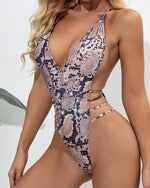 Load image into Gallery viewer, SNAKESKIN CRISSCROSS BACKLESS PADDED ONE PIECE SWIMSUIT