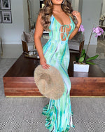Load image into Gallery viewer, TIE DYE CRISSCROSS BACKLESS MAXI DRESS