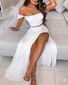 OFF SHOULDERS RUFFLES TOP & THIGH SLIT SKIRT SET