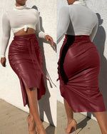 Load image into Gallery viewer, BUTTONED-UP SLIT LEATHER MIDI SKIRT