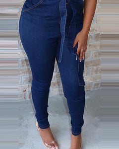BUTTONED POCKET DESIGN FITTED DENIM JUMPSUIT