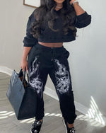 Load image into Gallery viewer, DRAGON PRINT LONG SLEEVES CROP TOP & DRAWSTRING WAIST PANTS SET