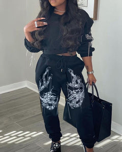 DRAGON PRINT LONG SLEEVES CROP TOP & DRAWSTRING WAIST PANTS SET