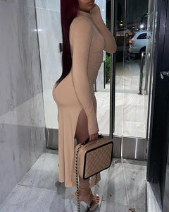 SOLID LONG SLEEVES HIGH SLIT MAXI DRESS