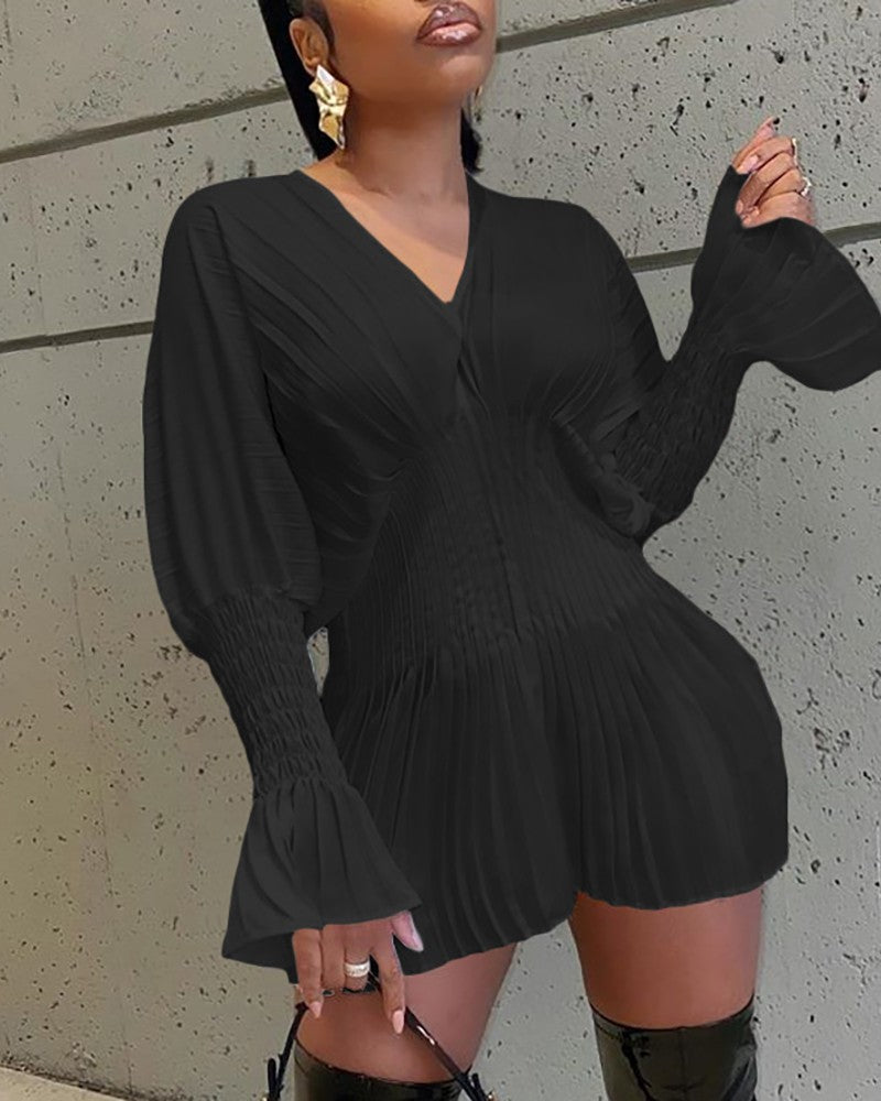 SHIRRING DETAIL BELL SLEEVES PLEATED DRESS