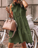 Load image into Gallery viewer, RUFFLES TRIM RUCHED SHORT SLEEVES CASUAL DRESS