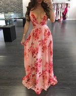 Load image into Gallery viewer, FLORAL PRINT PLEATED BACKLESS SLIP MAXI DRESS
