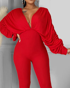 SEXY THICK PLAIN LONG SLEEVES FITTED JUMPSUIT