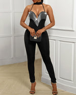 Load image into Gallery viewer, CHOKER SLEEVELESS TASSEL DESIGN JUMPSUIT