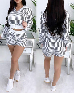 Striped Zipper Design HOODED CROP TOP & DRAWSTRING SHORTS SET