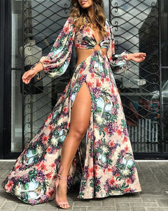 HIGH SLIT O-RING CUTOUT WAIST FLORAL PRINT DRESS