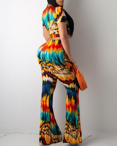 TIE DYE PRINT KNOTTED TOP & PANT SET