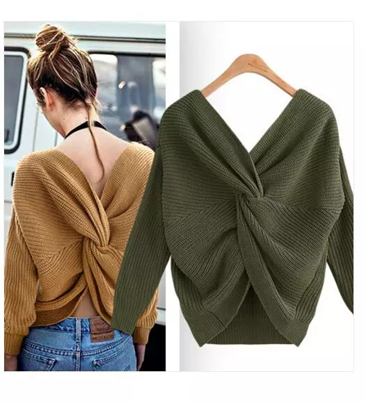 V- NECK BACKLESS SWEATER