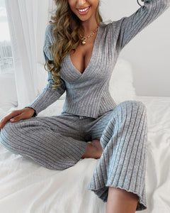 PLAIN LONG SLEEVES WRAP TOP & HIGH WAIST PANTS Pants SET