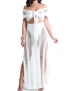 RIPPED KNIT CROCHET TIE FRONT TOP & SLIT SKIRT SET