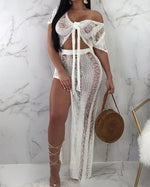 Load image into Gallery viewer, RIPPED KNIT CROCHET TIE FRONT TOP & SLIT SKIRT SET