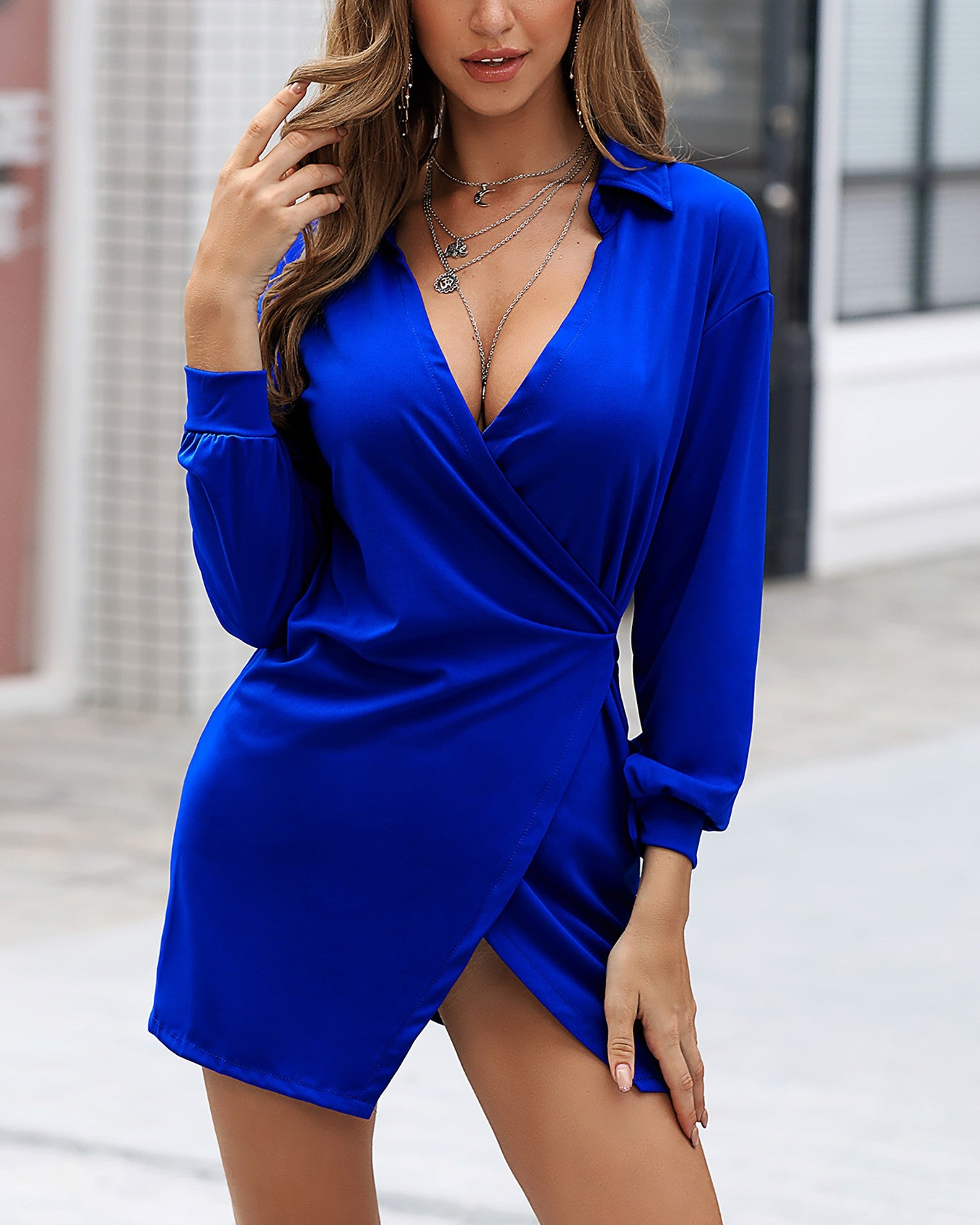 SOLID TURN-DOWN COLLAR LONG SLEEVES SHIRT DRESS