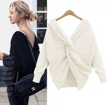 Load image into Gallery viewer, V- NECK BACKLESS SWEATER