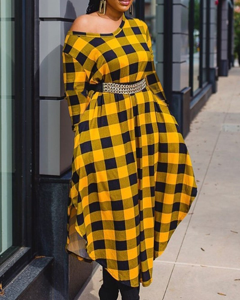 SIDE SLIT LONG SLEEVES PLAID MAXI DRESS