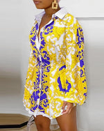 Load image into Gallery viewer, ELEGANT PRINT BUTTON-UP CASUAL SHIRT DRESS